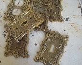 Vintage metal light switch cover plate gold tone roses 1967 with screws
