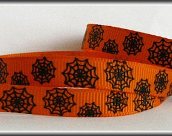 5 Yards black BLACK WEB on ORANGE 3/8 Grosgrain Ribbon (other colors also available)
