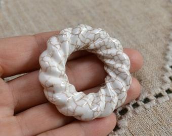 Magnesite Pendant 50mm Donut Natural Gemstone Beads White