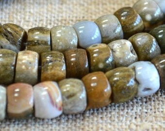 10x7mm Rondelle Ocean Jasper Natural Gemstone Beads 16 Inches Strand