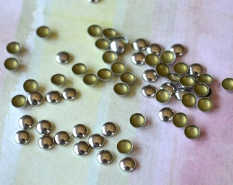 100pcs Flat Back Silver Finished Brass Hot-Fix Rhinestud 3mm Domed Round