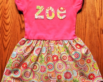 Toddler Summer Dress- personalized name dress, short sleeve party dress, unique toddler boutique style dress