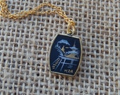 Damascene Necklace, Black and Gold Necklace, Small Necklace,  Gift for Her