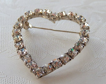 Heart Brooch,  Vintage Rhinestone Brooch, Valentine's Day,  I Love You, Gift for Her