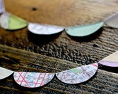 City Map Garland - Travel Decoration Made From Upcycled Maps of Your City