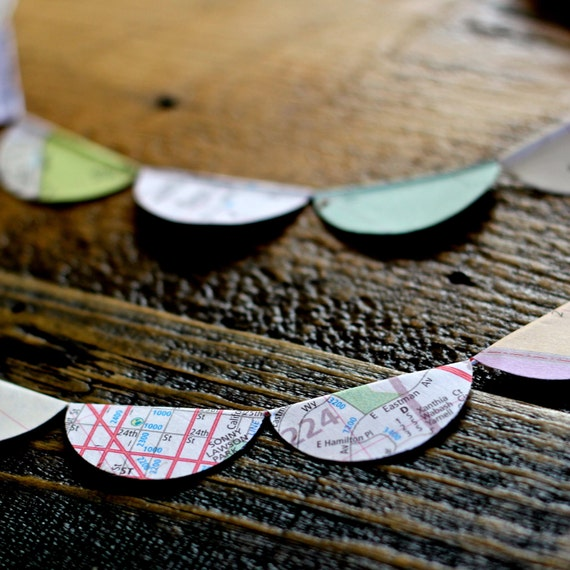 Personalized City Map Garland - Travel Decoration Made From Upcycled Maps of Your City