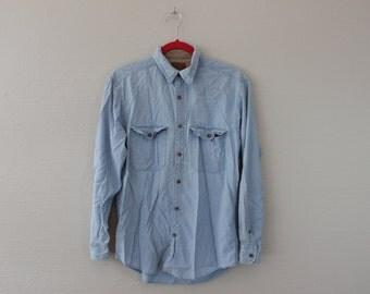 vintage 90s button down jean shirt Denim long sleeve shirt