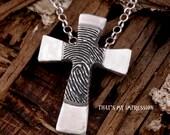 Personalized Silver Fingerprint Cross-- Fingerprint Jewelry-- Double Sided