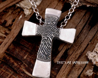 Personalized Silver Fingerprint Cross-- Fingerprint Jewelry-- Double Sided
