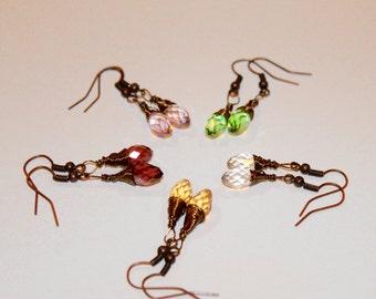 Czech Crystals Copper Earrings-Teardrop-Wire Wrapped - Feng Shui Jewelry
