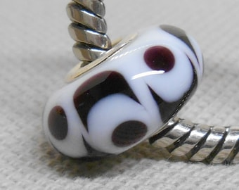 White with Black Handmade Lampwork Bead Silver Cored Bead Fits Most European Style Charm Bracelets