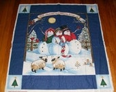 Christmas Wallhanging Fabric Panel with snowmen (backing and binding included)