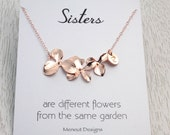Personalized Sisters Necklace, Bridal Wedding Gift Idea, Rose Gold Orchid Flower Necklace, Bridesmaids Gift