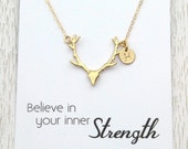 Gold Deer Antler Necklace, Personalized Spring Gift, Initial Disc Necklace, Rose Gold Silver or Gold, Message Card Jewelry