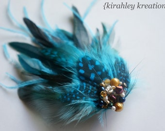Turquoise Blue Feather Gold Beaded Cluster Wedding PHEOBE Fascinator Bride Bridesmaids Prom Hair Clip Headpiece - Customization Available