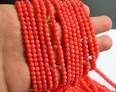 Coral - Salmon pink -  4mm round bead - 1 full strand -  A quality - 97 beads - RFG472