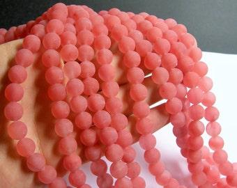 Cherry quartz matte -  10 mm round - 48 beads per strand - Matte -  RFG505