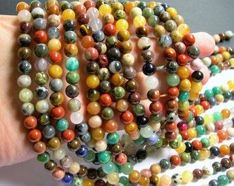 Gemstone mix - 8mm round beads - full strand - 50 beads - A quality - multi gemstone mix - RFG722