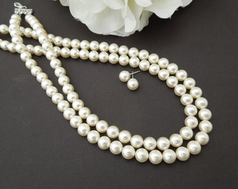 Pearl Necklace Set,Ivory or White Pearls, Bridal Classic Necklace,Wedding Pearl Necklace and earrings,Statement Pearl Necklace,Pearl,MAKAYLA