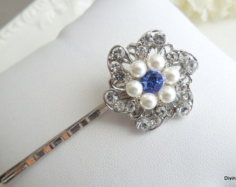 Bridal Hair Pin Rhinestone Pearl Hair Pin Wedding Hair Pin ivory swarovski pearl Wedding bridal hair accessory Something Blue AMELIA