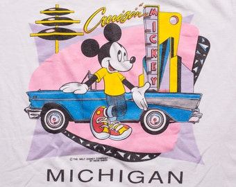 Mickey Mouse Cruisin' T-Shirt, Retro 50s Diner Style, Classic Car, Vintage 90s