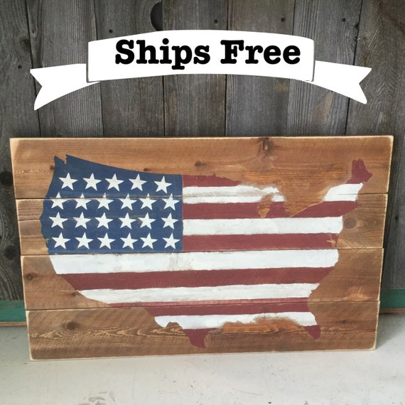 Items Similar To Pallet Wood Flag -American Rustic Flag