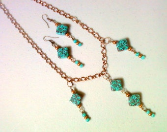 Copper and Turquoise necklace and earrings (0335)