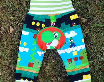 Monster Bunz grow with me pants size S 0-6 months - Yoshi Mario bros