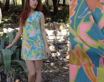 French VTG 60s wallpaper print mini silk dress S