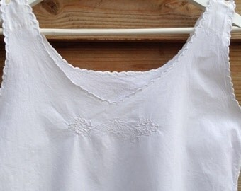 French antique White Cotton Lace Exquisite night gown / tunic sun dress monogrammed LF