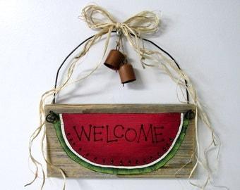 Wide Watermelon Slice, Welcome Sign, Barn Wood Watermelon Welcome, Tole Painted, Rustic Barn Wood Sign, Primitive Barn Wood Sign,Rusty Bells