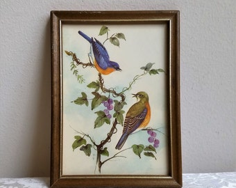 Vintage Embossed Bird Art Print in Wood Frame, Eastern Bluebird Picture