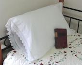 One Single Vintage Hand Crocheted White Cotton Tubing Pillow Case Pillowcase
