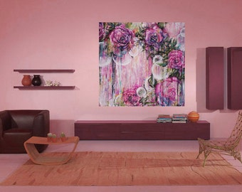 Orbs-  Large Giclee Canvas Print - Contemporary Art in Pink, Mauve, Purple Shabby Chic Distressed Floral 24x24 36x36 40x40 Abstract