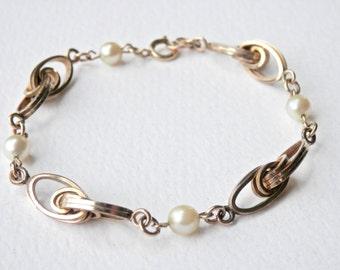 12K Gold Fill Bracelet, Pearl Gold Bracelet, Pearl Jewelry, Retro Bracelet, Yellow Gold, Link Bracelet, Natural Pearls