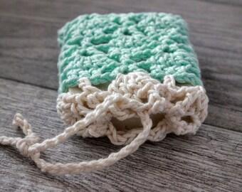 Cotton Soap Sack - Crochet Soap Saver - Soap Bag for Handmade Soap -  Soap Cozy - Homemade Soap Pouch - Aqua with Cream Border