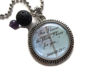 Bible Quote Necklace | Lava Rock Essential Oil Necklace | Amethyst Necklace | For I Know The Plans I Have For You | Oil Diffuser Jewelry
