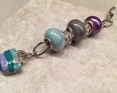 Zipper Charm handbag accessory Fun Loving Girl purple silver tone seafoam blue bling Pazazz up your gear Just FOR FUN