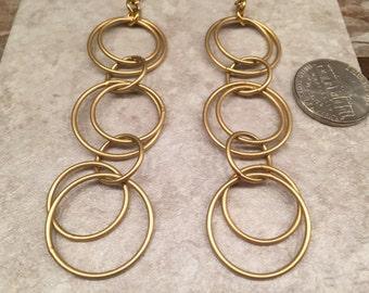 Earrings long dangling circles gold tone Boho-Chic Gypsy Hippie Girl feminine fabulous elegant day to evening wear