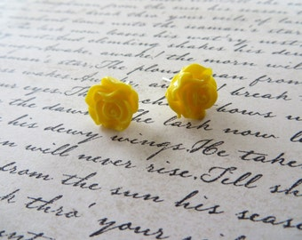 Yellow Resin Rose Post Earrings