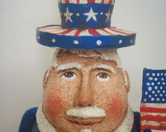 Uncle Sam Paper Mache Folk Art Primitive Americana