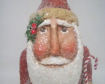 Paper Mache Folk Art Santa