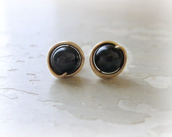 Onyx Stud Earrings, Gold Post Earrings, Black Post Earrings, Black Stud Earrings, Stone Stud Earrings, Gemstone Earrings, Gold Stud Earrings