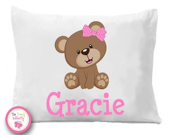 Girls Teddy Bear , Pink Bear ,  Personalized Pillow Case , Bedding, Girls Teddy Bear, Cute Bear , Personalized Bear , Children's Pillowcase