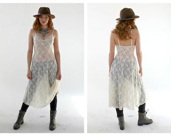Transparent Lace Dress- Cream Boho See Through Stretch Hippie Dress, Festival Flowy