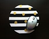 "Black and White Mouse Pad, Black and Gold Mousepad, Computer Mouse Pad, Mouse Mat, Black & White Striped, Gold Dots, 1/4"" Thick"