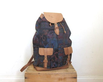 90s Vintage Baja Ethnic Woven Medium Rucksack Backpack