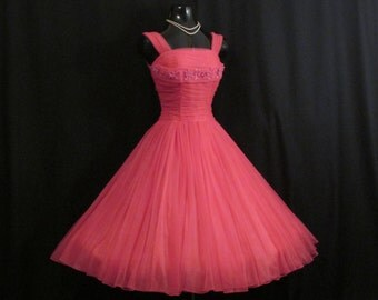 Vintage 50s 1950's HOT PINK Fuschia Ruched CHIFFON Organza Daisies Rhinestones Party Prom Wedding Dress