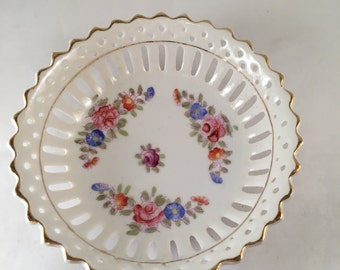 Vintage Mikori Ware Round Floral Hand-Painted Dish