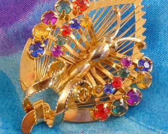 Vintage Rhinestone Butterfly Brooch, Figural Bug Pin
